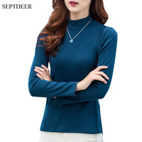 SEPTDEER New Fashion Long Sleeve Plus Size Women T Shirt Bottoming Cotton Autumn Turtleneck Tops For