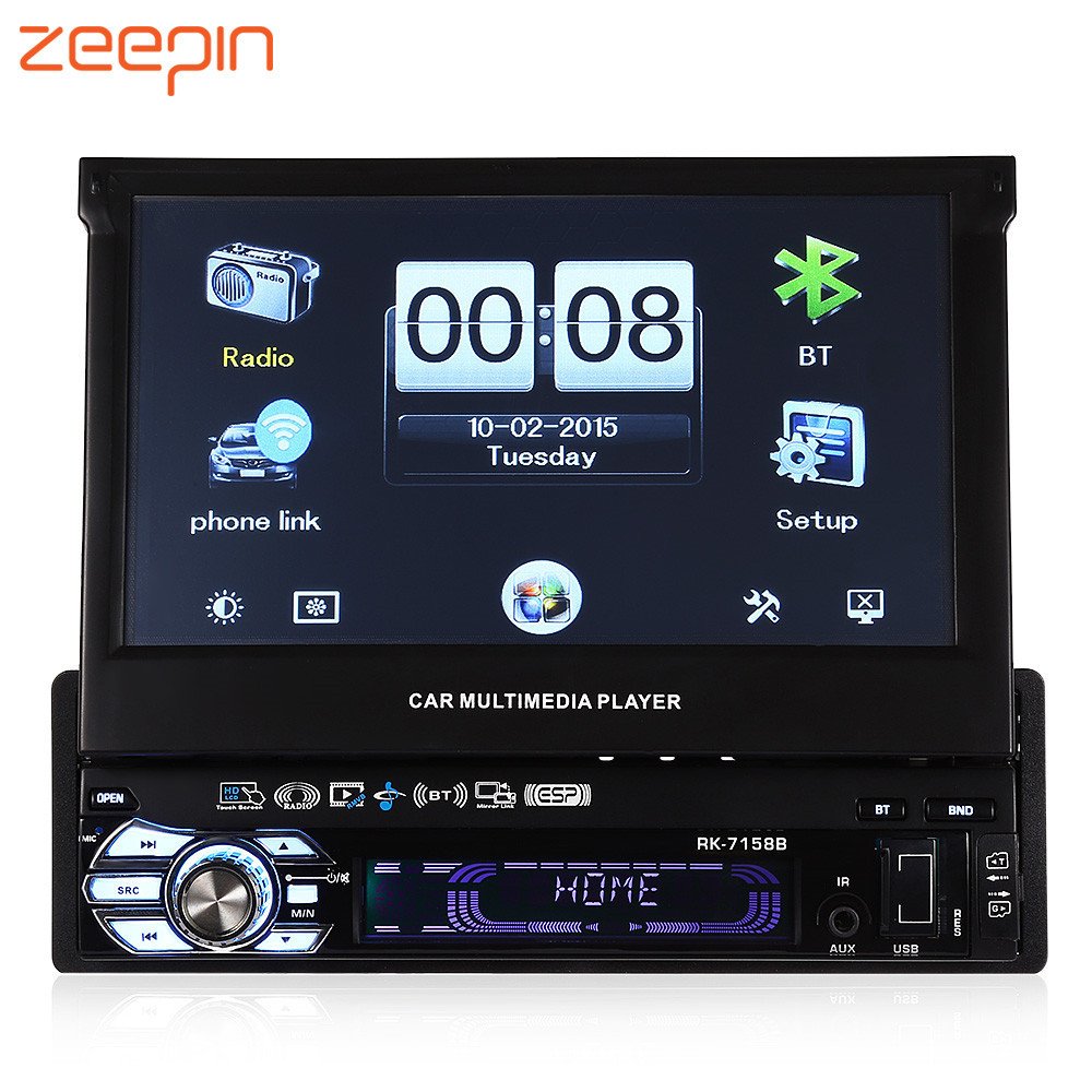 Zeepin 7158B Car MP5 Player 7 inch HD Touch Screen AM FM Radio Bluetooth USB Mirror Link function Auto Multimedia Player 9 inch car headrest dvd player pillow universal digital screen zipper car monitor usb fm tv game ir remote free two headphones