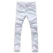 2017 мужская мода досуга прямые белые джинсы мужские брюки высокое качество 100% хлопок мужские тонкие джинсы случайные брюки брюки мужчины
