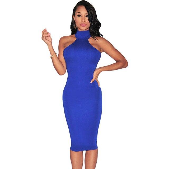 SEBOWEL  2016  High Neck Slim Bodycon Elegant Party Dress Hollow Back Pencil Midi Dress Summer Sexy Sleeveless Dress Club Wear