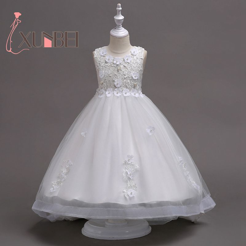 Knee Length   Girls   Pageant   Dresses   Lace   Flower     Girl     Dresses   2019 Floral   Girls   First Communion   Dresses   Evening Party Gowns