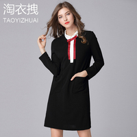 2018 Women Spring A Line Dress Autumn Lady Lovely Doll Collar Long Sleeve Bowknot Office Work Dresses Casual Party Dress