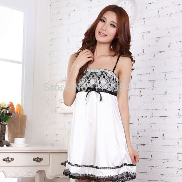 Soft, sexy emulation silk lace dress,perfect combination    nightgown   pajama  spring and autumn   Free shipping