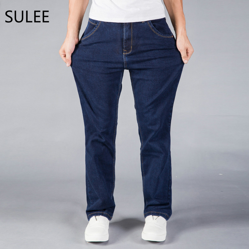 SULEE Mid Waist Loose Straight Mens Stretch Blue Denim Jeans Brand Pants Plus Size Big and Tall Man Jeans for Big Man sulee brand autumn winter mens heavyweight stretch denim jeans casual fit loose relax trousers pants plus size 42 44