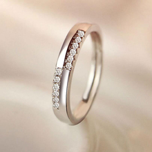 Korean Open Ring Female Simple CZ Zircon Stones Ring for Women Fashion Jewelry Proposal Female Ring Silver Jewelry Wholesale