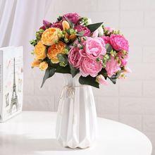 30cm Rose Pink Silk Peony Artificial Flowers PE Foam Rose Flowers Bride Bouquet Home Wedding Decor Scrapbooking DIY Supplies