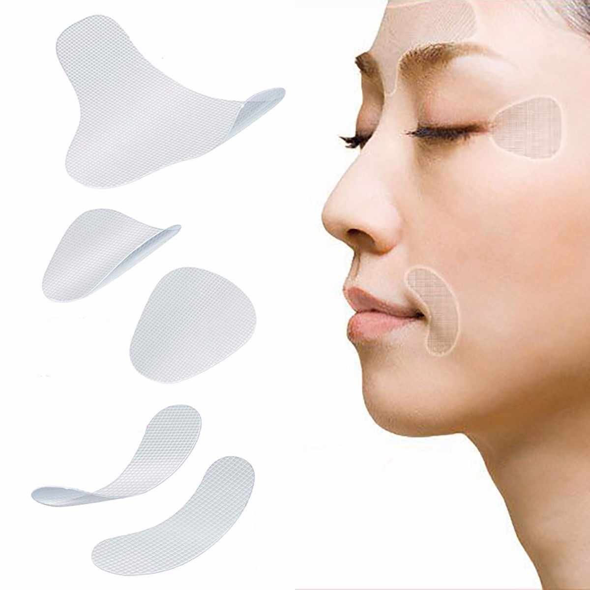 Hot Sale 12/24/27Pcs Thin Face Stickers Facial Anti-Wrinkle Patches Smile Line Wrinkle Sagging Skin Lift Up Tape Tools