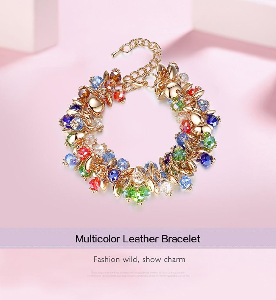 BELAWANG 18 Fashion Charm Bracelets & Bangles Fashion Crystal Stone Gold Bracelet For Women Friendship Bracelets Femme Jewelry 2