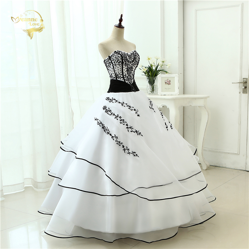 Vestidos De Noiva Hot Sale 2019 New Arrival  Wedding Dresses Classical A line White Black Women's Vintage Ball Gown OW 0199