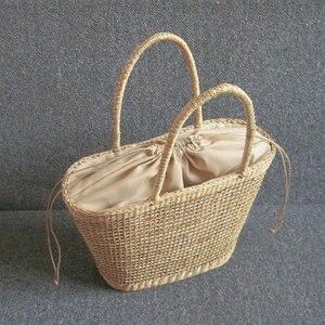 Image 5 - 2018 シンプルで寛大な無装飾無地ネット中空質感不織布バッグ人気わらバッグハンドバッグ 37 × 25 センチメートル