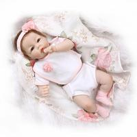 Nicery 19inch 43 48cm Bebe Doll Reborn Soft Silicone Boy Girl Toy Reborn Baby Doll Gift for Children Present Pink Flowers Lovely