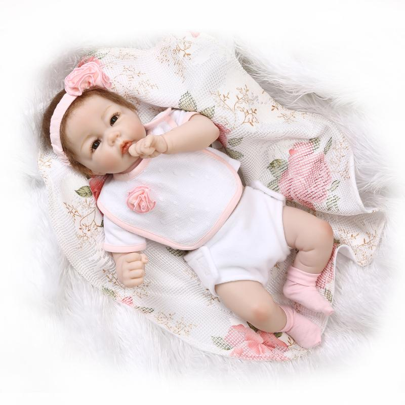 Nicery 20inch 50cm Magnetic Mouth Reborn Baby Doll Soft Silicone Lifelike Toy Gift for Children Christmas Present Pink Flowers nicery 18inch 45cm reborn baby doll magnetic mouth soft silicone lifelike girl toy gift for children christmas pink hat close