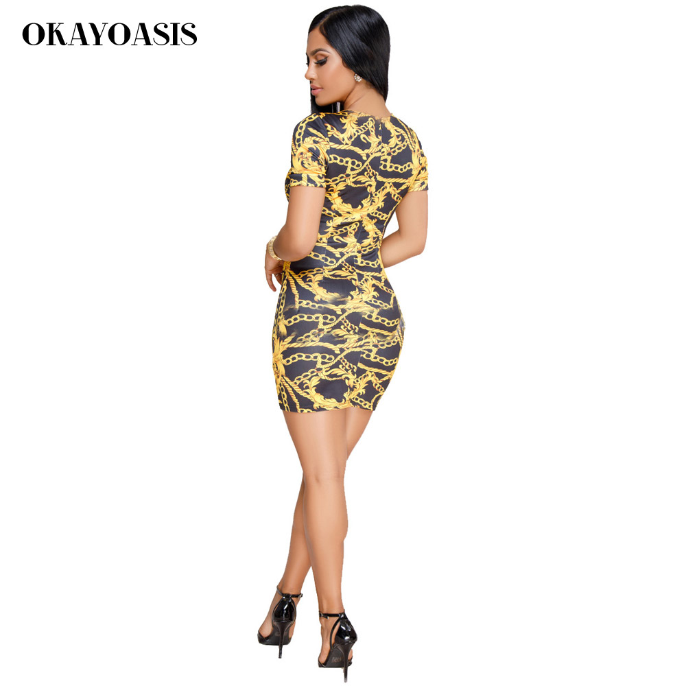 OKAYOASIS Chain Print Vintage Summer Dress Women Fashion O Neck Short  Sleeve Mini Sexy Bodycon Dress Casual Ladies Dresses 2018-in Dresses from  Women s ... 04fb65d59925