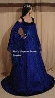 Индивидуальный заказ королевский синий средневековой handfasting Фэнтези платье/викторианской и tudor костюм