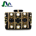 High Quality Elegant Lady Beaded Prom Clutch Evening Bag With Stone Wedding Purse Dinner Party Black