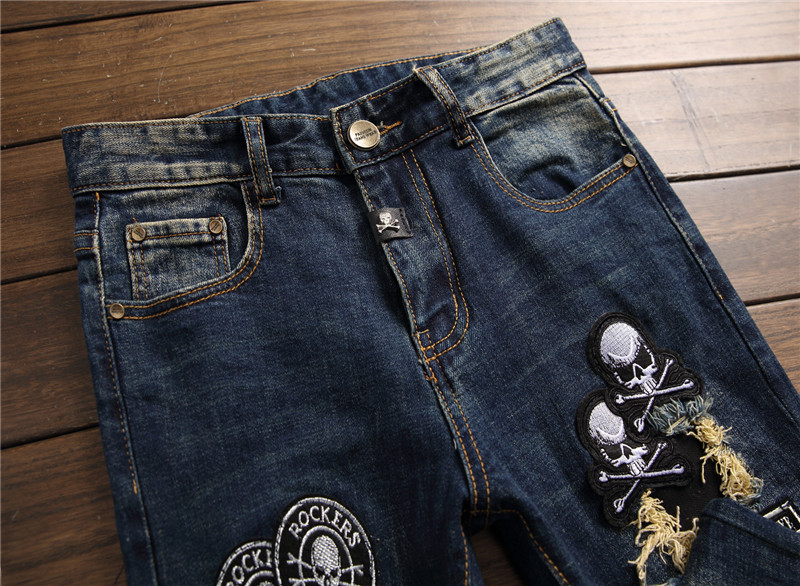 Mcikkny 2019 Mens Fashion Ripped Jeans Straight Patchwork Denim Trousers Hip Hop Skull Embroidered Jeans Pants For Male (4)