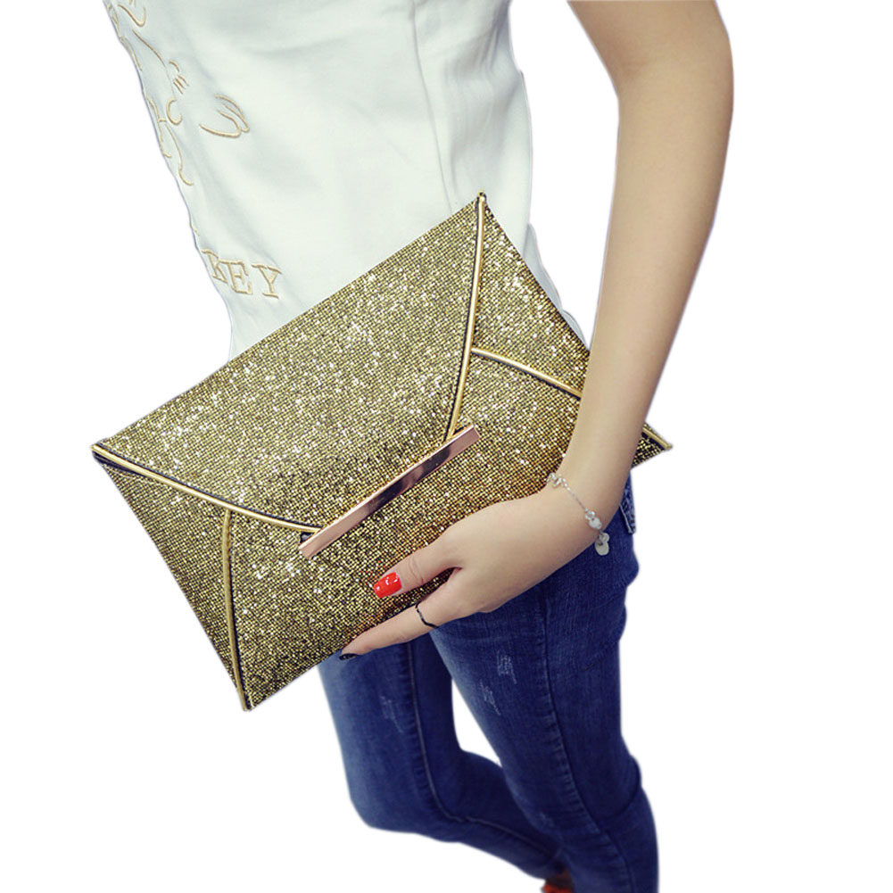 Simple Fashion Women Envelope Clutch Bag Solid Color Leather Glitter Purse Party Delicate Handbag Ladies Wedding Bags  B