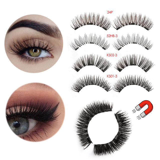 9b78e53587e 1Set NEW Full Coverage 3D Triple Mink Hair Magnetic False Eyelashes  Handmade Glue-Free Magnet