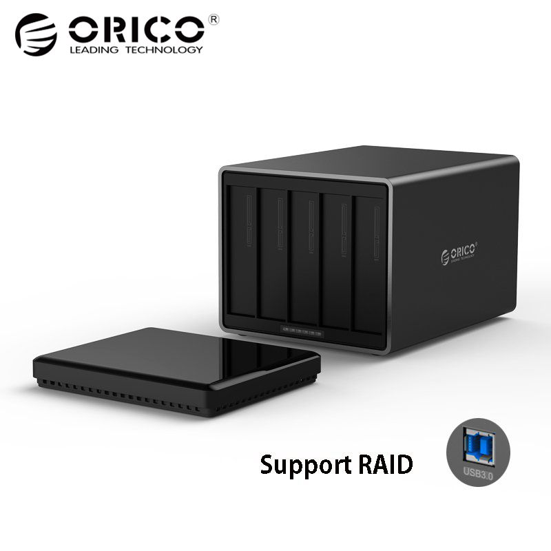 ORICO Tool Free USB3.0 to SATA 5-Bay 5Gbps RAID Hard Drive Docking Station with 12V 6.5A Power Adapter Support UASP HDD Case orico 9528ru3 dual bay 3 5 usb3 0 sata hard drive enclosure with raid