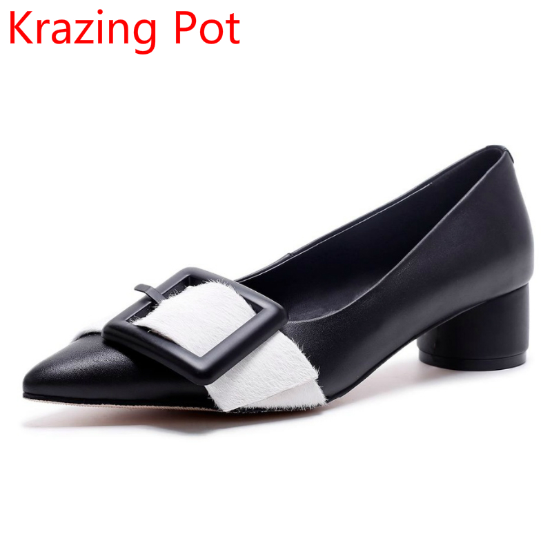 Mixed Colors Genuine Leather Metal Buckle Original Design Shallow Round Buckle Women Pumps Pointed Toe Party Brand Shoes L38 universe women s shoes genuine leather wedges shallow mouth pointed toe buckle strap e073
