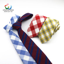 2018 New Arrived Men Cotton Plaid Narrow Neck Ties For Man Classic Striped Slim Red Blue Check Wedding Vintage Dress Suits(China)