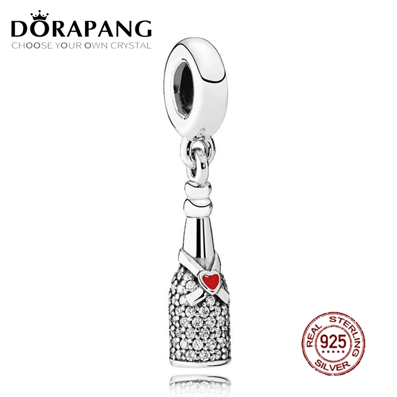 DORAPANG 100% 925 Sterling Silver Celebration Time Dangle Charm Red Enamel & Clear CZ Pendant Bead For Mother Gift Bracelet DIY
