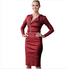 TFGS 2016 Women Red Dresses Celebrity Belted Synthetic Leather Long Sleeve Zipper Spring Party Cocktail Bodycon Sheath Clothes