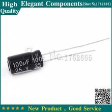 """500 יחידות 100 UF 25 V 25 V 100 UF אלומיניום אלקטרוליטי Capacitor 25 V/100 UF גודל 6*11 מ""""מ קבל אלקטרוליטי"""