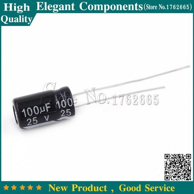500PCS 100UF 25V 25V 100UF Aluminum Electrolytic Capacitor 25 V / 100 UF Size 6*11MM Electrolytic Capacitor
