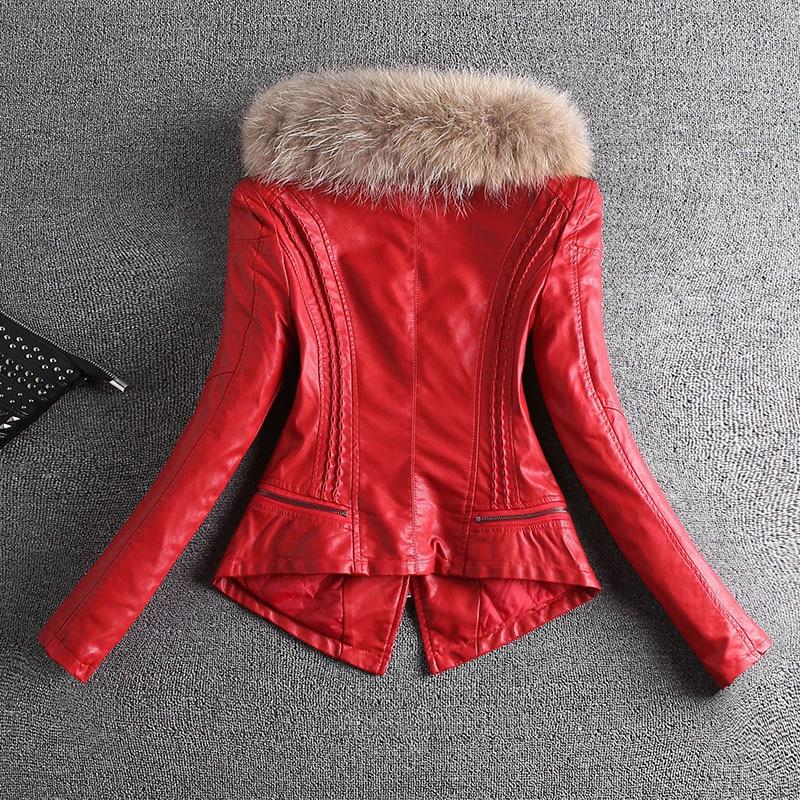 red Breve Cappotto Giacche Più red Delle black 1 Di Black 1 Sottile 2018 2 Donne 2 Moto Giacca Pelliccia Autunno Il Inverno Vera 3xl Pelle Formato a6FqTSwn
