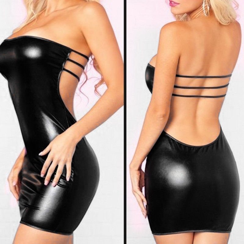 Women clubwear sexy slim strapless short dress New Fashion Faux Leather bodycon Dress vestidos sexys night club summer 2018