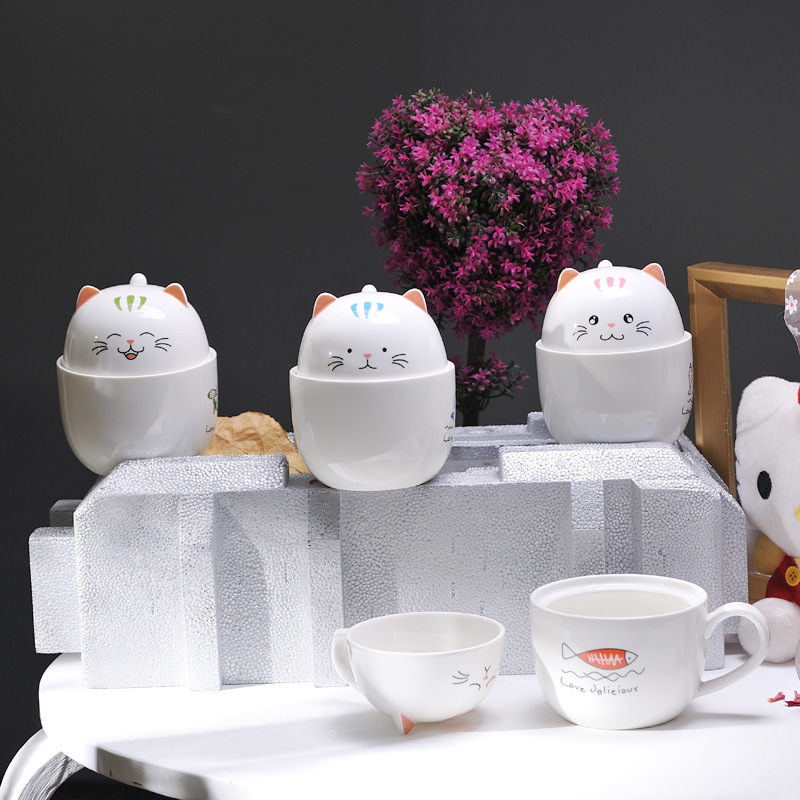 Originality Ceramics Cup Lovely Kitty Amphibious 3D Cat Fish Lid Stereoscopic Milk Cafe Coffee Mugs Caneca Muumi Xicara Tazas