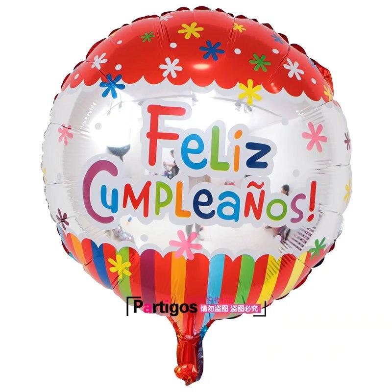 Image 5 - 100pcs Wholesale 18 inch Spanish Happy Birthday Foil Balloons Mix  Style Birthday Party Decoration Helium Inflatable Balao GlobosBallons