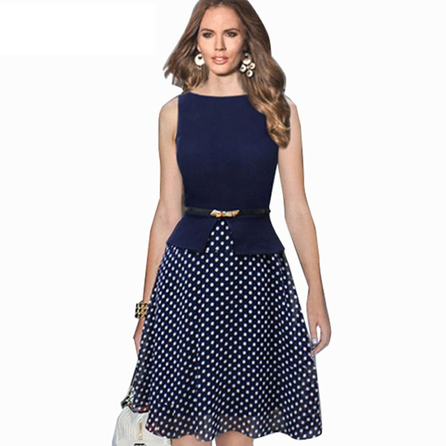 Summer Casual Women Chiffon Patchwork Sleeveless Dress Vintage Round Neck Polka Dot Swing 50s Rockabilly Dresses With Lining 761