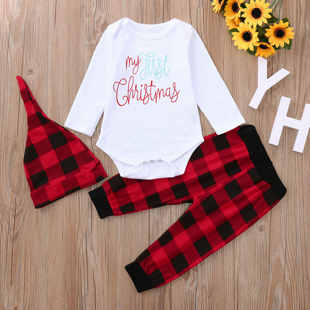 US Newborn Infant Baby Girl Xmas Outfits Clothes Plaid Romper Jumpsuit Dress Set