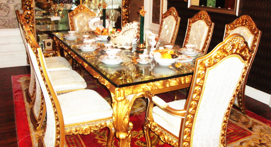 European Style Luxury Imperial Wood Carved Decorative Dining Room Set In Dini