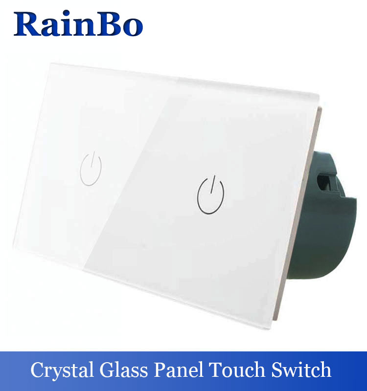 rainbo 2Frame Touch Switch Screen Crystal Glass Panel Switch EU Wall Switch  Light Switch  1gang1way+1gang1way A291111W/B тумба с раковиной aquaton венеция 65 белая умывальник венеция 650