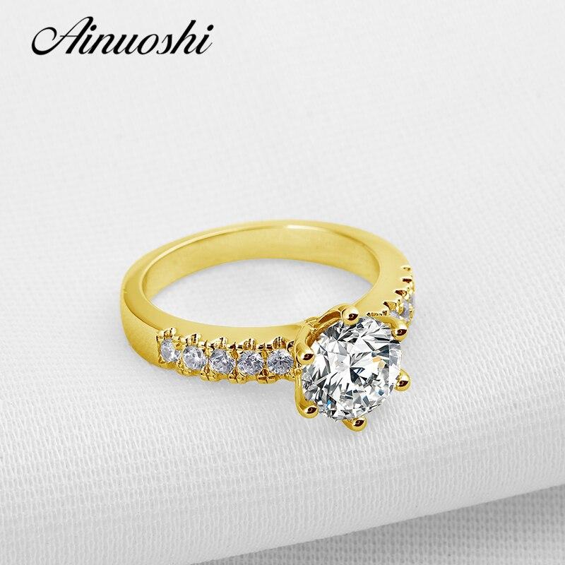 AINUOSHI di Lusso 10 k Solido Oro Giallo Anelli di Fidanzamento Diamante Simulato Bijoux Femme Gli Amanti di San Valentino Promessa Donne Anello Fascia