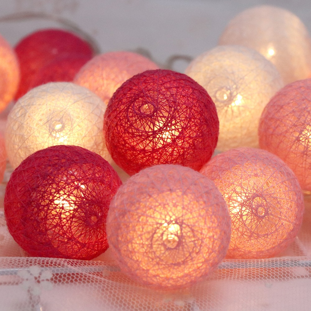 LED-lichtslingers Fairy Holiday Decoration Light 20 Leds Cotton Ball - Vakantie verlichting - Foto 2