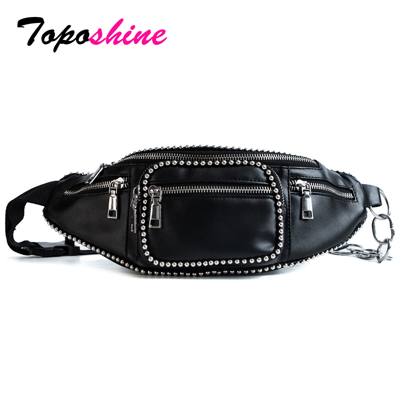 Toposhine Black PU Leather Waist Bag For Women 2018 Cool Rivets Decorate Girl Shoulder Bag Small Pack Quality Female Waist Bags