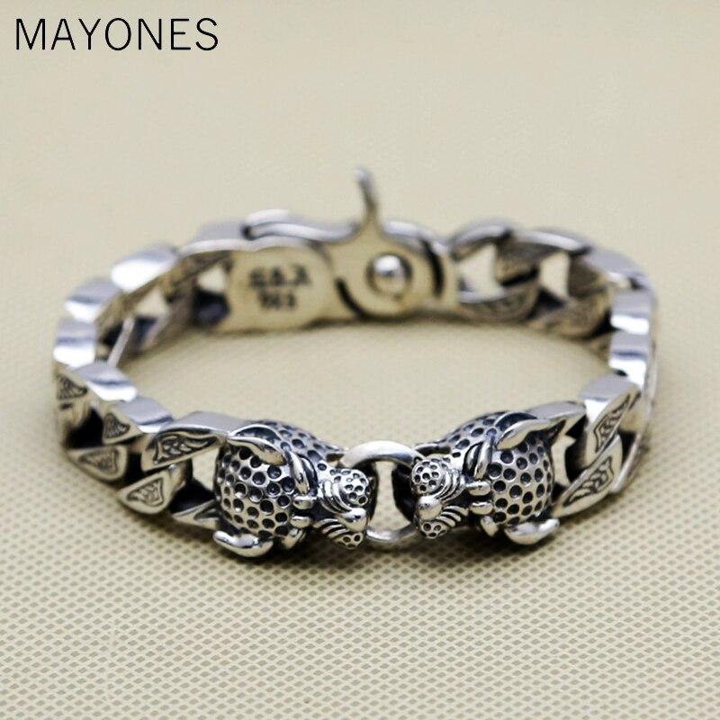 13mm Double tête de léopard Bracelet hommes 64.1g 100% pur solide en argent Sterling 925 haut à la mode Antique argent 925 bijoux hommes cadeau