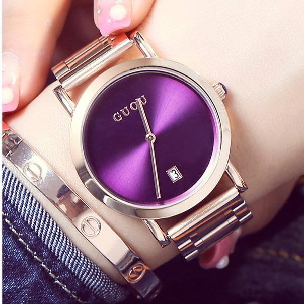 HK GUOU Brand Top Quality Ladies Luxury Rose Gold Watch Female Fashion Calendar quartz watch simple