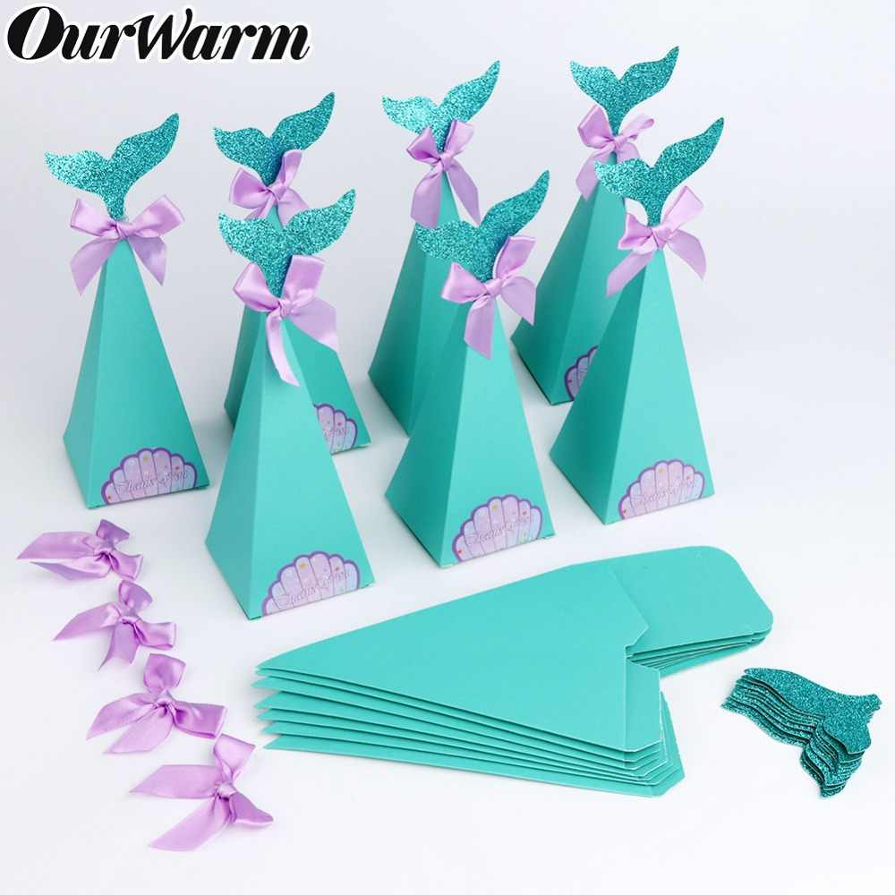 OurWarm 20Pcs Mermaid Party Gift Boxes Under the Sea DIY Paper Candy Boxes Little Mermaid Birthday Party Decorations Kids Favors