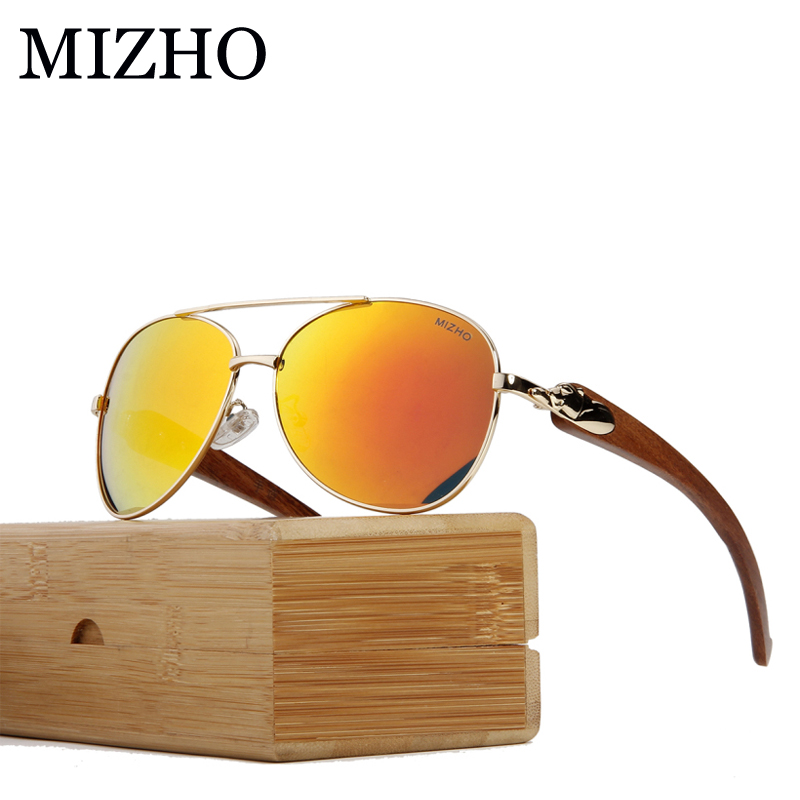 MIZHO Leopard Shape Design Eyewear Visual Protection Wood Sunglasses Men Polarized Pilot Traveling Luxury Glasses Unisex