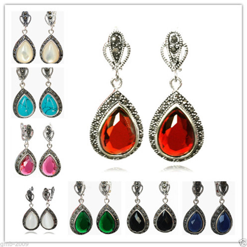 8 Choices 925 Silver Gems&Marcasite Waterdrop Earrings 1 12