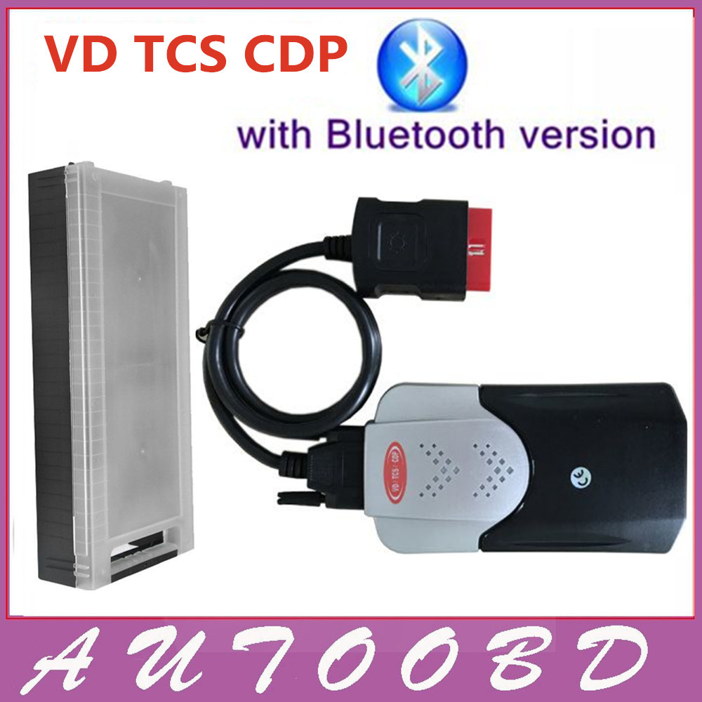[VD TCS CDP] Auto OBD2 Multi-language New Vci CDP Bluetooth Black interface CDP With Plastic Box OBDII OBD2 Scanner Free Ship! new arrival new vci cdp with best chip pcb board 3 0 version vd tcs cdp pro plus bluetooth for obd2 obdii cars and trucks