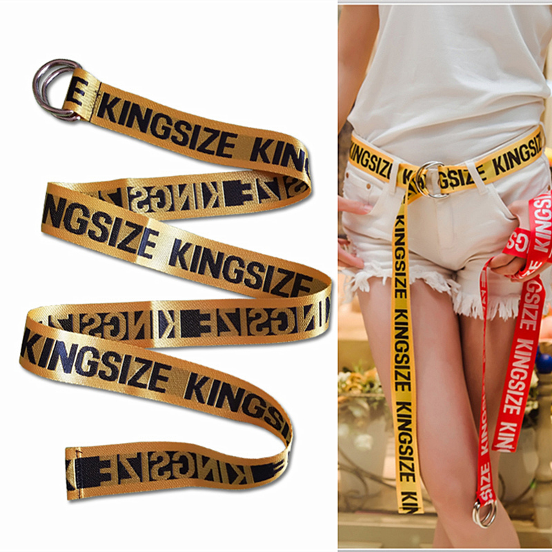 Belts   for Women Fashion Personality Letter KINGSIZE   Belts   European and American Style High Quality Canvas   Belt   Big Size   Belts