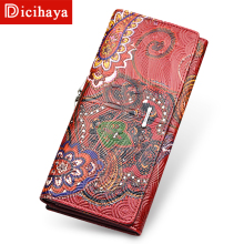 DICIHAYA Genuine Leather 3D Embossing Wallet Female Hasp Fashion Dollar Price Embossed leather Long Women Wallets And Purses