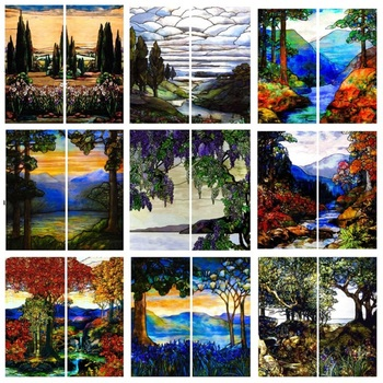 Landscape painting Glass Films Stained Window Film Opaque Sticker Self Adhesive/Static Cling For Square do Custom Size
