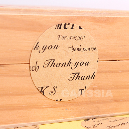 100pcs/lot Dia 3.5cm Creative Thank You series Packing label Gift seal stickers Kraft paper sticker Stationery supplies(ss-1450)